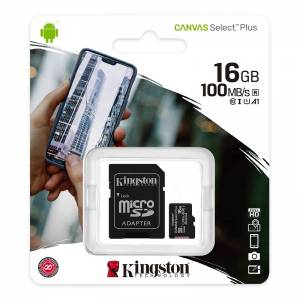 KINGSTON Canvas SELECT Plus Micro SDHC 16GB Class 10 UHS-I s adaptérom (SDCS2/16GB)