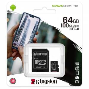 KINGSTON Canvas SELECT Plus Micro SDHC 64GB Class 10 UHS-I s adaptérom (SDCS2/64GB)
