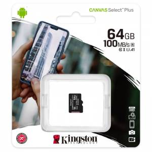 KINGSTON Canvas SELECT Plus Micro SDXC 64GB Class 10 UHS-I (SDCS2/64GBSP)